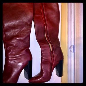 Renvy Shoes - Renvy tall boots - Burgundy. Block heel pointy